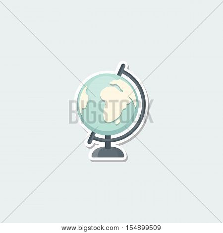School symbol - world globe. School education, earth map, geographical and travel concept colorful single icon. Basic element for web isolated on white background vector illustration in flat design.