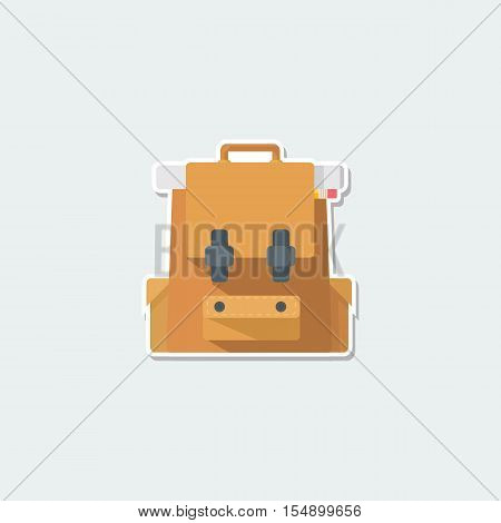 School symbol - brown schoolbag. School education, travel concept, backpacks with supplies colorful single icon. Basic element for web isolated on white background vector illustration in flat design.