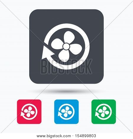 Ventilation icon. Air ventilator or fan symbol. Colored square buttons with flat web icon. Vector