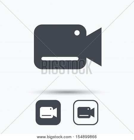 Video camera icon. Film recording cam symbol. Security monitoring. Square buttons with flat web icon on white background. Vector