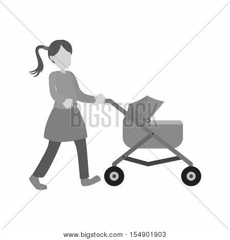 Pram, baby, stroller icon vector image. Can also be used for people. Suitable for use on web apps, mobile apps and print media.