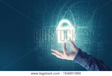 Handheld and a bright padlock image with a sketch background