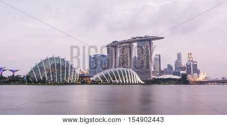 Night View Of Business District In Singapore