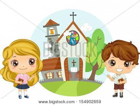 Illustration of a Pair of Preschool Kids Carrying Bibles Attending Church Service