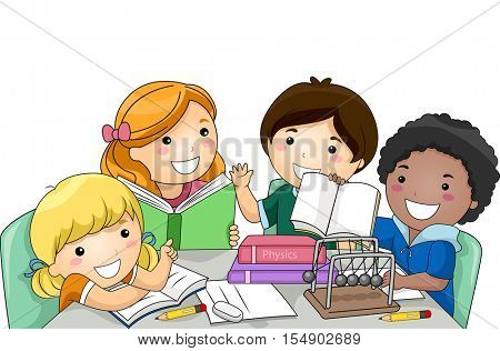 Illustration of a Diverse Group of Preschool Kids Studying Physics Together