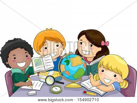 Illustration of a Diverse Group of Preschool Kids Using Different Educational Tools to Study Geography
