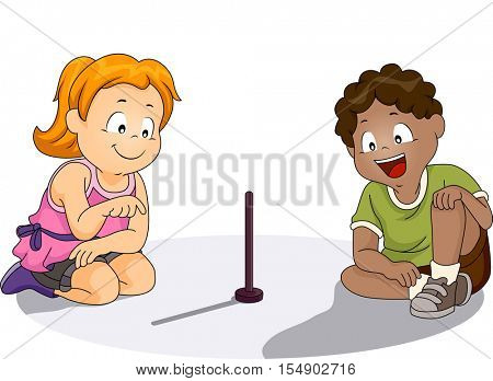 Illustration of a Pair of Preschool Kids Observing the Shadow of a Makeshift Sundial