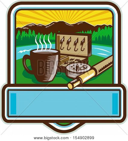 Illustration of a mug fly tackle bait box fly rod and reel set inside crest shield with mountain river trees and sunburst in the background done in retro woodcut style.