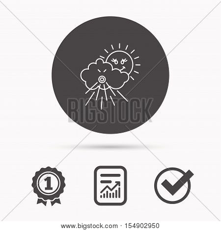 Wind icon. Cloud with sun and storm sign. Strong wind or tempest symbol. Report document, winner award and tick. Round circle button with icon. Vector
