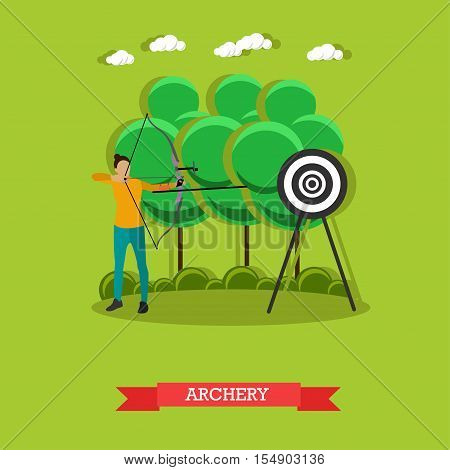 Sport shooting banner. Archery competition games vector illustration. People in shooting positions.