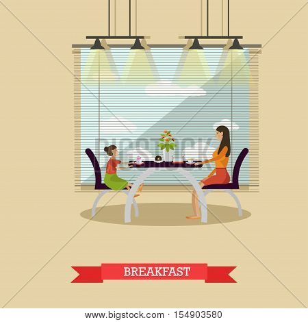 Mother and daughter having breakfast together - stock vector.