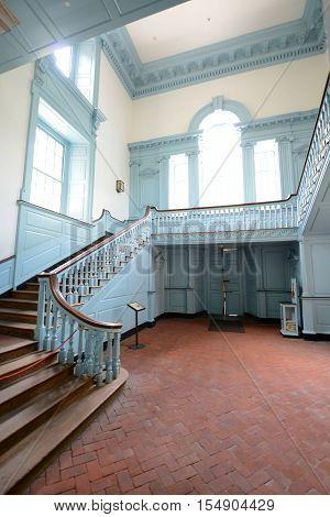 PHILADELPHIA - JUN 27, 2014: Stairs in Independence Hall in old town Philadelphia, Pennsylvania, USA. Now Independence Hall is a UNESCO World Heritage Site.