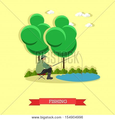 Man fishing on a lake. Fisherman holding a fishing pole. Vector concept poster.