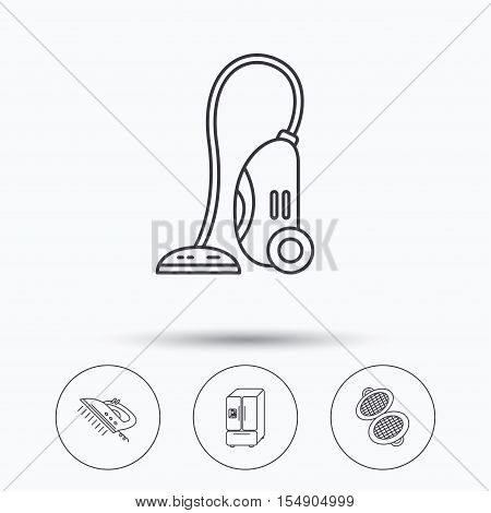 Vacuum cleaner, steam ironing and waffle-iron icons. American style fridge linear sign. Linear icons in circle buttons. Flat web symbols. Vector
