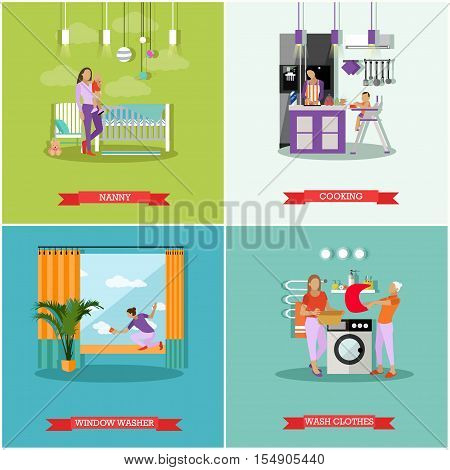 Housewife concept vector posters. Housekeeper woman taking care baby, cleaning, cooking and washing. Wife work at home.