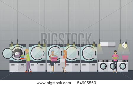 People in self-service laundry service vector poster. Laundry room interior banner.