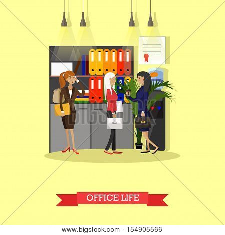Office life concept vector illustration in flat style. Female workers in office interior. Women have coffee break and talk next to office cooler.