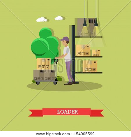 Man load parcels. Logistic and delivery service concept banner. Warehouse workers. Vector illustration in flat style design. Delivery man working in warehouse and shipping products.