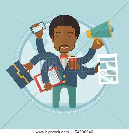 African-american businessman coping with multitasking. Businessman having skills of multitasking. Businessman doing multiple tasks. Vector flat design illustration in the circle isolated on background