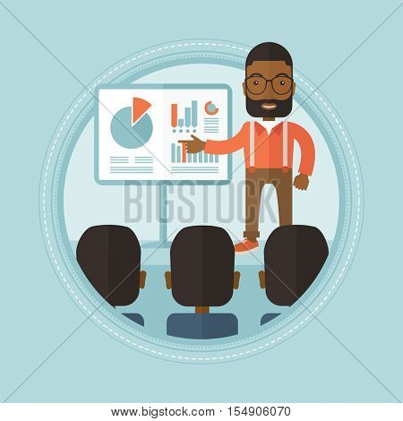 An african businessman pointing at charts on a board during business seminar. Business people taking part in business seminar. Vector flat design illustration in the circle isolated on background.