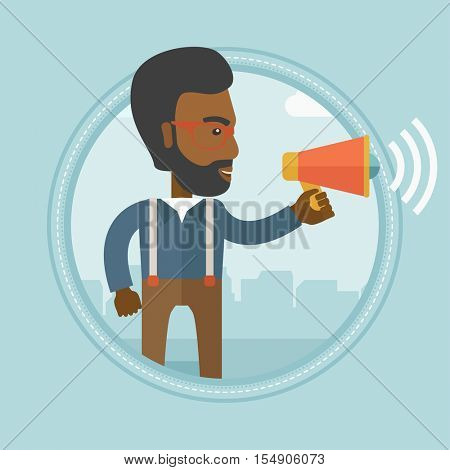 An african-american businessman making an announcement. Businessman announcing through megaphone. Business announcement concept. Vector flat design illustration in the circle isolated on background.