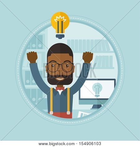 African-american businessman having a business idea. Man got a business idea. Man with idea bulb above head. Business idea concept. Vector flat design illustration in the circle isolated on background