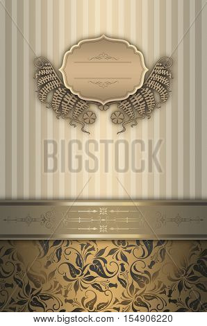 Elegant vintage background with decorative borderframe and old-fashioned patterns.