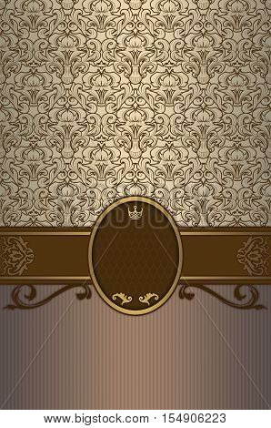 Vintage background with decorative borderframe and elegant old-fashioned patterns.