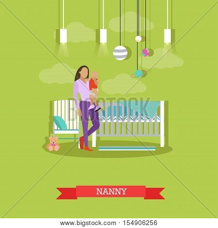 Nanny with a child. Nursery room interior. Vector illustration in flat style. Baby room with cradle.