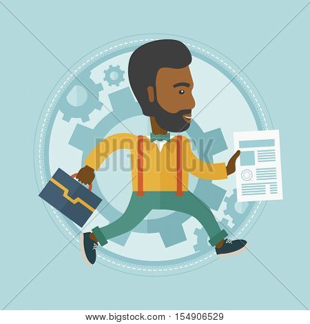 An african-american stressed businessman running in a hurry. Concept of stress in business. Stressed office worker running. Vector flat design illustration in the circle isolated on background.