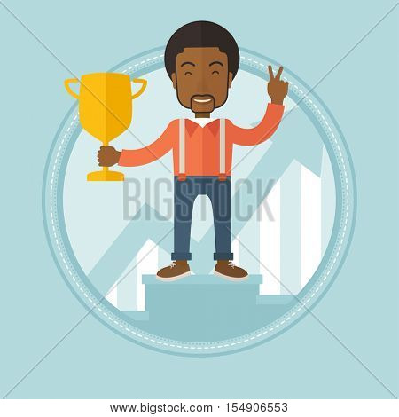 African-american businessman on a pedestal with business award. Businessman celebrating business award. Concept of business award. Vector flat design illustration in the circle isolated on background.