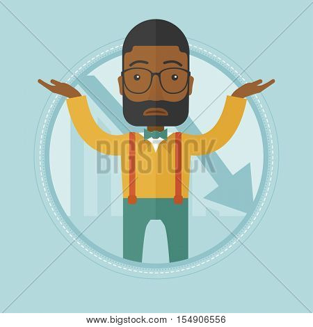 An african stressed bankrupt businessman. Businessman unaware what to do with business bankruptcy. Business bankruptcy concept. Vector flat design illustration in the circle isolated on background.