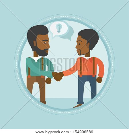 Two african-american businessmen shaking hands to launch a new venture based on a brilliant business idea. Business idea concept. Vector flat design illustration in the circle isolated on background.