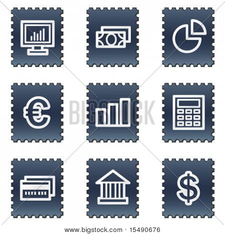 Finance web icons set 1, navy stamp series