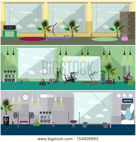 Fitness center interior vector illustration. Work out in gym horizontal banners. Sport activities concept. Yoga, fitness, gym.