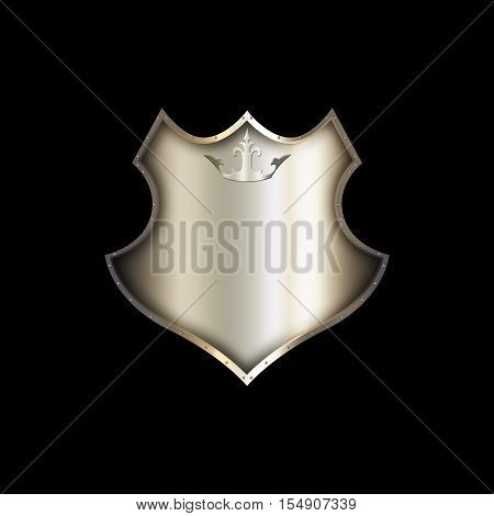 Medieval riveted shield with crown on black background.