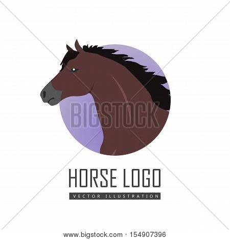 Running sorrel horse flat style vector logo. Domestic animal. Country inhabitants concept. Illustration for farming, animal husbandry, horse sport companies. Agricultural species. Isolated on white