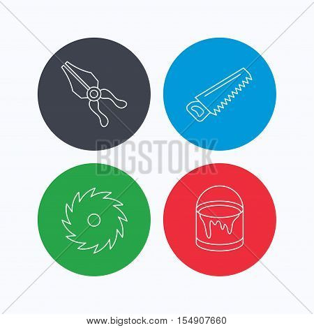 Pliers, circular saw and bucket of paint icons. Saw linear signs. Linear icons on colored buttons. Flat web symbols. Vector