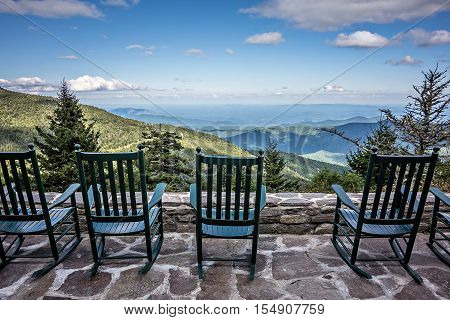 lots of chairs and beautiful mountain view
