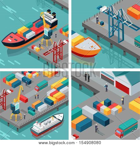 Set of cargo port vector illustrations. Isometric projection. Ships with steel containers standing on the berth at the port, crane, workers, cars shore. For transport or delivery company ad design