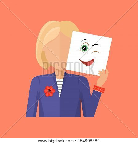 Woman avatar icon. Young blonde woman in blue jacket with a sheet of paper. Sheet of paper with anger emotional playful smile. People with expression of emotions. Isolated vector illustration
