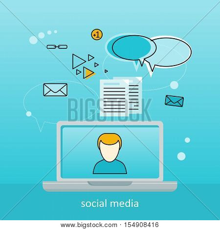 Laptop with man on screen. Laptop with infographics on blue background. Concept of social media, online business, online education, business training, media content, freelance. Social media background