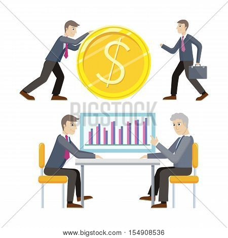 Investment and business planing vector concepts. Flat style. Man rolls giant gold dollar coin. Partners discuss financial results. Income, loan, savings, wages illustration for business concepts.