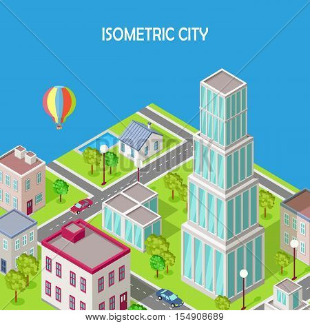 Isometric city vector. Isometric icon of city. Modern architecture, skyscraper exterior, clean sustainable eco city. Home and office buildings. Eco friendly environment. Residential estate cityscape.