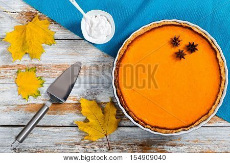 Delicious Bright Orange Homemade Pumpkin Open Pie In Baking Dish