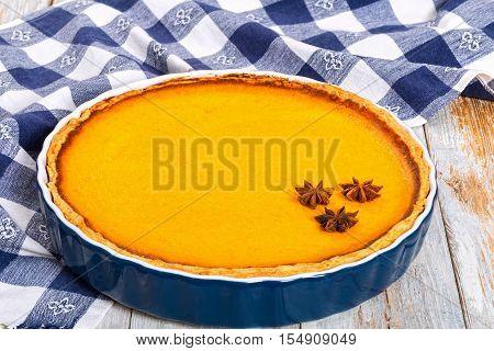 Delicious Fresh Round Bright Orange Homemade Pumpkin Pie