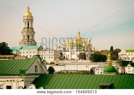 Famous Orthodox Monastery - Kiev Pechersk Lavra, Kiev, Ukraine. Vintage toned image.