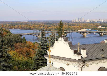 panoramic city view of Dnipro and Kyiv-Pechersk Lavra, Kyiv, Ukraine
