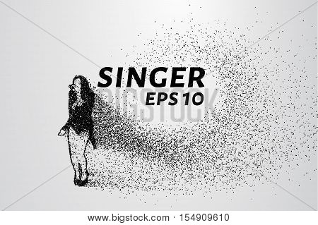 Singer from particles. She sings consists of small circles and dots.