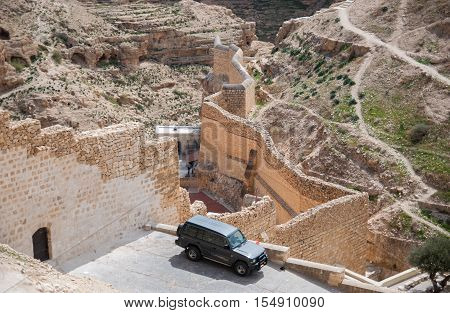 KIDRON VALLEY ISRAEL - MARCH 5 2011: Holy Lavra of Saint Sabbas the Sanctified known in Arabic as Mar Saba